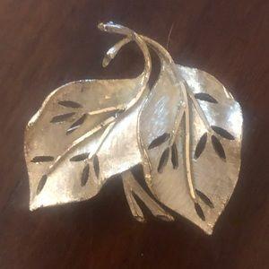 BSK vintage signed silver leaf brooch